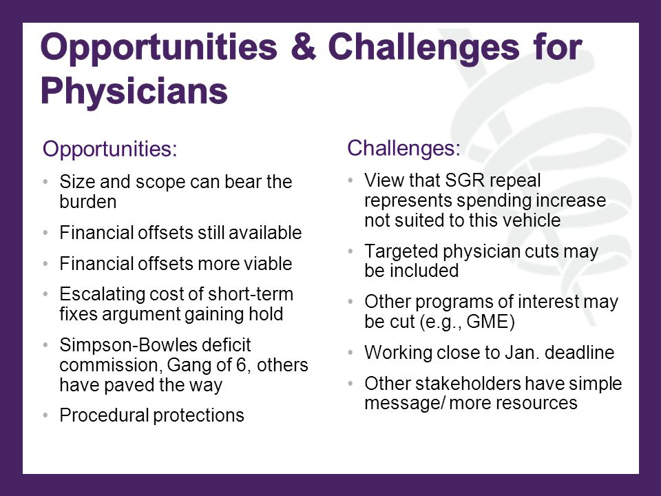 Opportunities: Size and scope can bear the burden Financial offsets still available Financial offsets more viable Escalating cost of short-term fixes argument gaining hold Simpson-Bowles deficit commission, Gang of 6, others have paved the way Procedural protections Challenges: View that SGR repeal represents spending increase not suited to this vehicle Targeted physician cuts may be included Other programs of interest may be cut (e.g., GME) Working close to Jan.