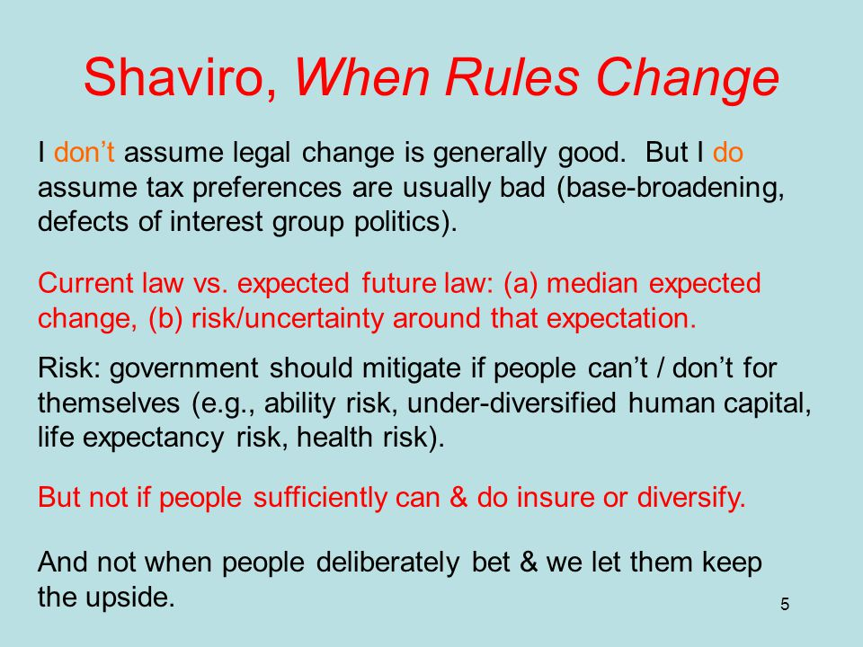 5 Shaviro, When Rules Change I don't assume legal change is generally good.