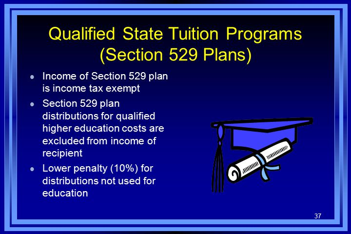 37 Qualified State Tuition Programs (Section 529 Plans) l Income of Section 529 plan is income tax exempt l Section 529 plan distributions for qualified higher education costs are excluded from income of recipient l Lower penalty (10%) for distributions not used for education