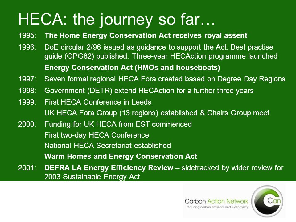HECA: the journey so far… 1995: The Home Energy Conservation Act receives royal assent 1996:DoE circular 2/96 issued as guidance to support the Act.