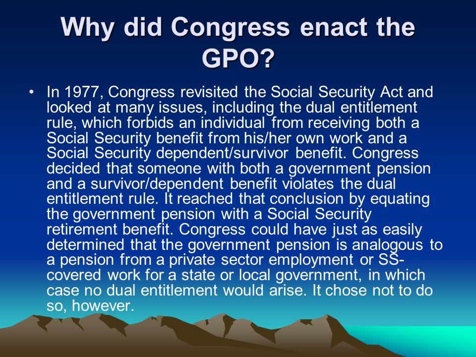 Why did Congress enact the GPO.