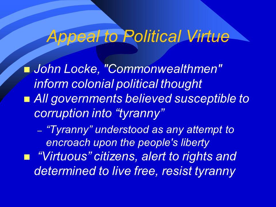 Appeal to Political Virtue n John Locke,