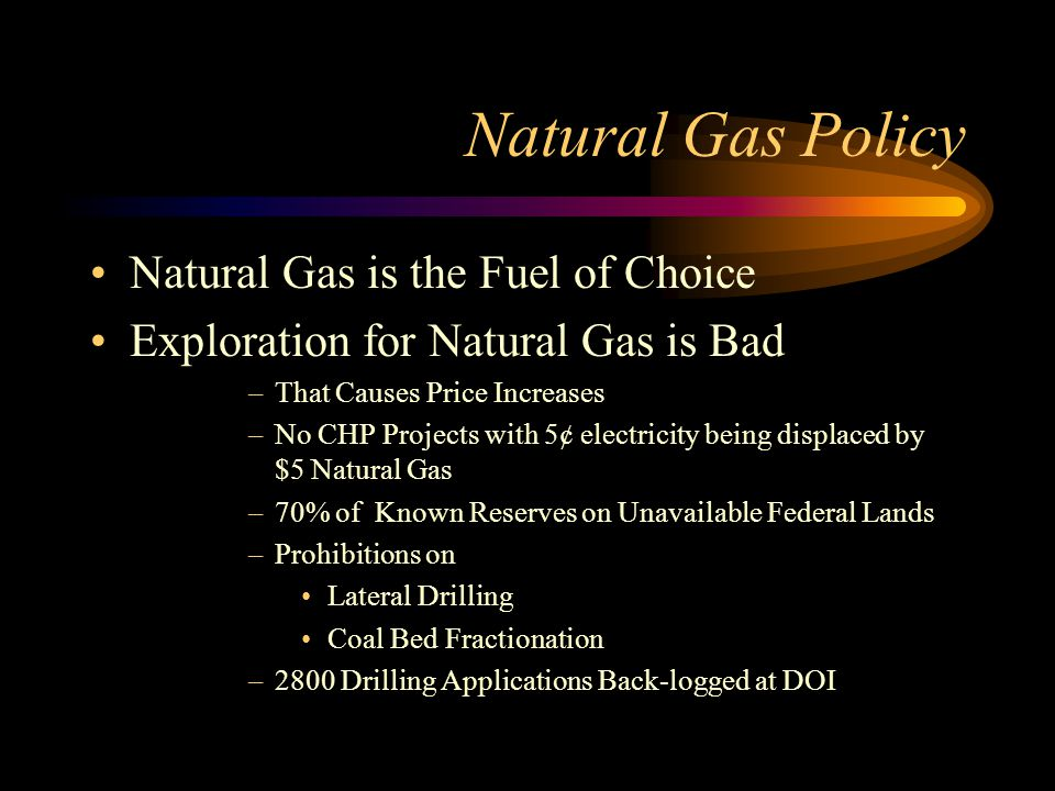 Natural Gas Policy Natural Gas is the Fuel of Choice Exploration for Natural Gas is Bad –That Causes Price Increases –No CHP Projects with 5¢ electricity being displaced by $5 Natural Gas –70% of Known Reserves on Unavailable Federal Lands –Prohibitions on Lateral Drilling Coal Bed Fractionation –2800 Drilling Applications Back-logged at DOI