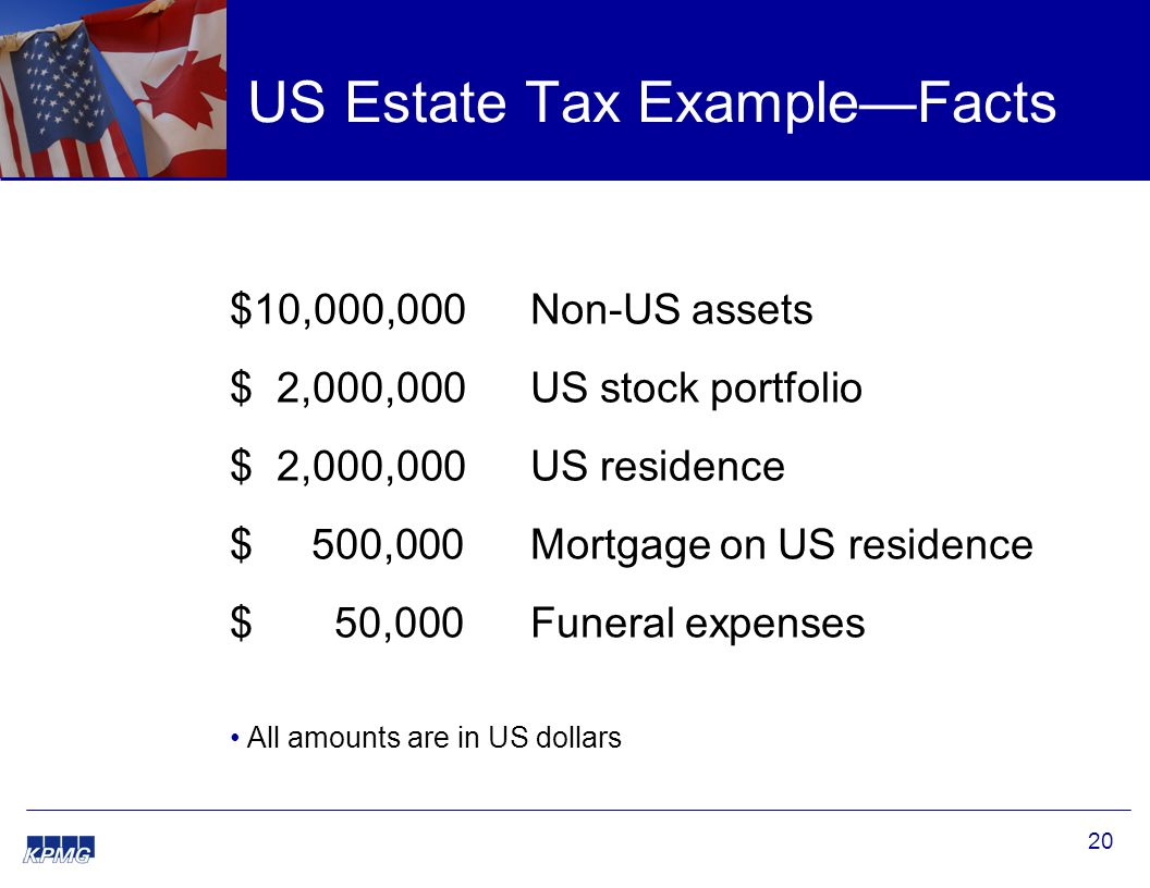20 US Estate Tax Example—Facts $10,000,000 Non-US assets $ 2,000,000 US stock portfolio $ 2,000,000 US residence $ 500,000Mortgage on US residence $ 50,000Funeral expenses All amounts are in US dollars