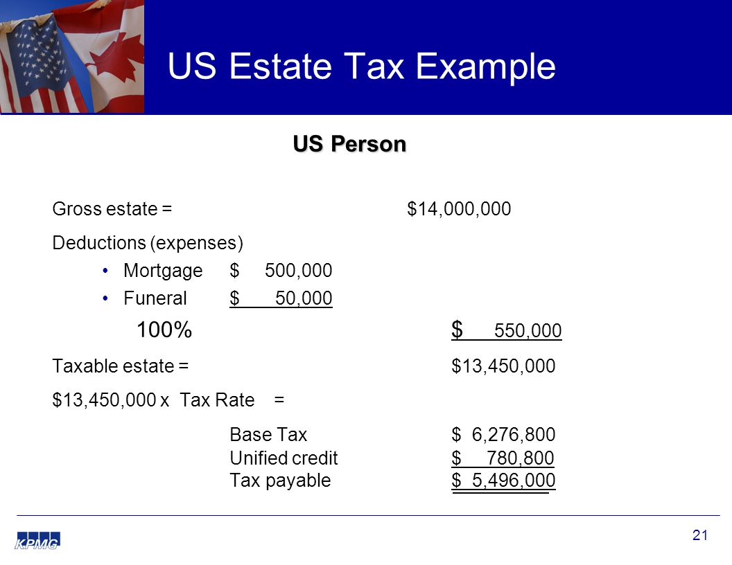 21 US Estate Tax Example US Person Gross estate = $14,000,000 Deductions (expenses) Mortgage $ 500,000 Funeral $ 50,000 100% $ 550,000 Taxable estate = $13,450,000 $13,450,000 x Tax Rate= Base Tax $ 6,276,800 Unified credit$ 780,800 Tax payable$ 5,496,000