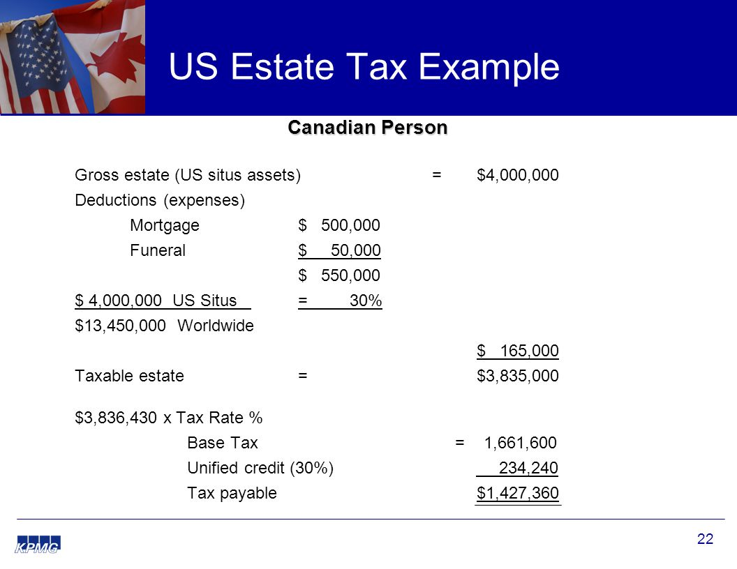 22 US Estate Tax Example Canadian Person Gross estate (US situs assets) = $4,000,000 Deductions (expenses) Mortgage $ 500,000 Funeral $ 50,000 $ 550,000 $ 4,000,000 US Situs = 30% $13,450,000 Worldwide $ 165,000 Taxable estate= $3,835,000 $3,836,430 x Tax Rate % Base Tax = 1,661,600 Unified credit (30%) 234,240 Tax payable $1,427,360