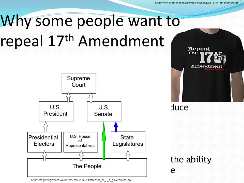 Why some people want to repeal 17 th Amendment  Preserve power for their part  Threat of ending unnecessary  Senate that would work to gradually reduce  Citizens would have final say  Vastly increased federal power  The state legislatures would then have the ability to decentralize power when appropriate http://www.motherjones.com/files/images/blog_17th_amendment.jpg http://craigwwright.files.wordpress.com/2008/11/structure_of_u_s_government.jpg