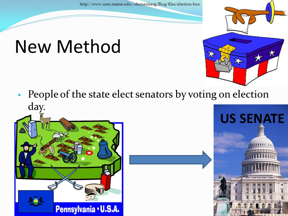New Method  People of the state elect senators by voting on election day. http://www.usm.maine.edu/~dsonenberg/Blog/files/election-box US SENATE