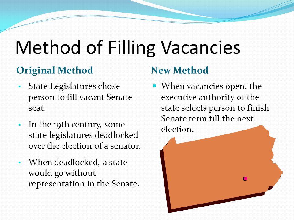 Method of Filling Vacancies Original Method New Method  State Legislatures chose person to fill vacant Senate seat.