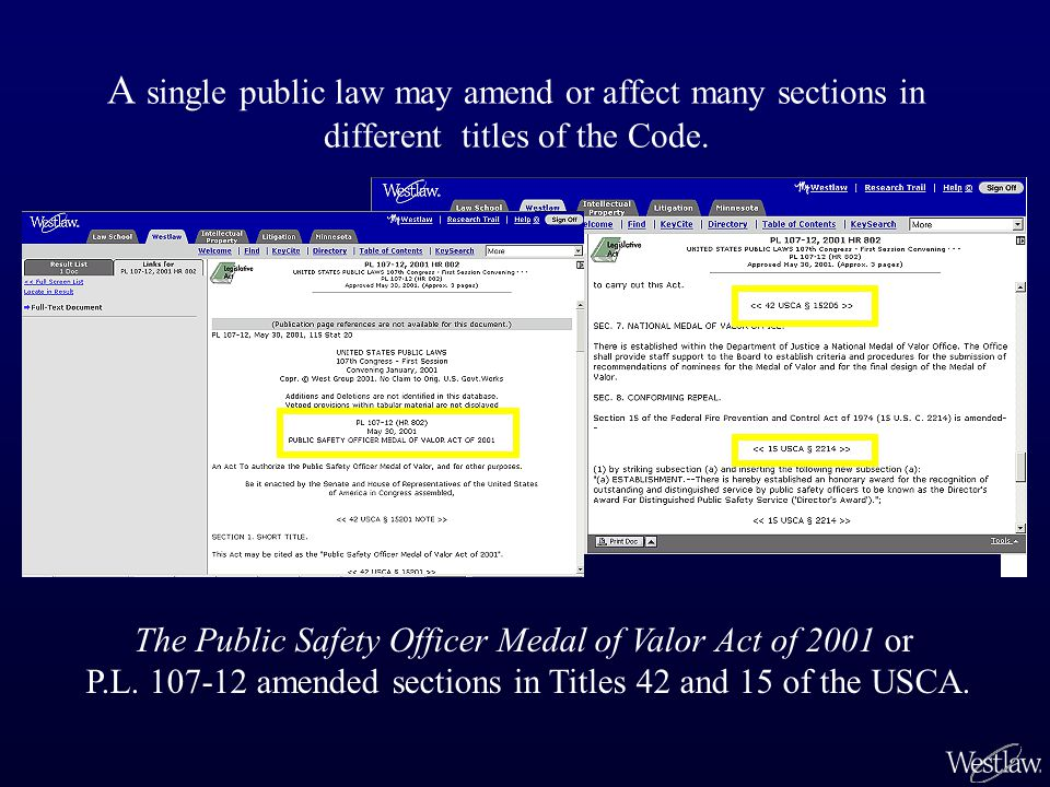 A single public law may amend or affect many sections in different titles of the Code. The Public Safety Officer Medal of Valor Act of 2001 or P.L. 10