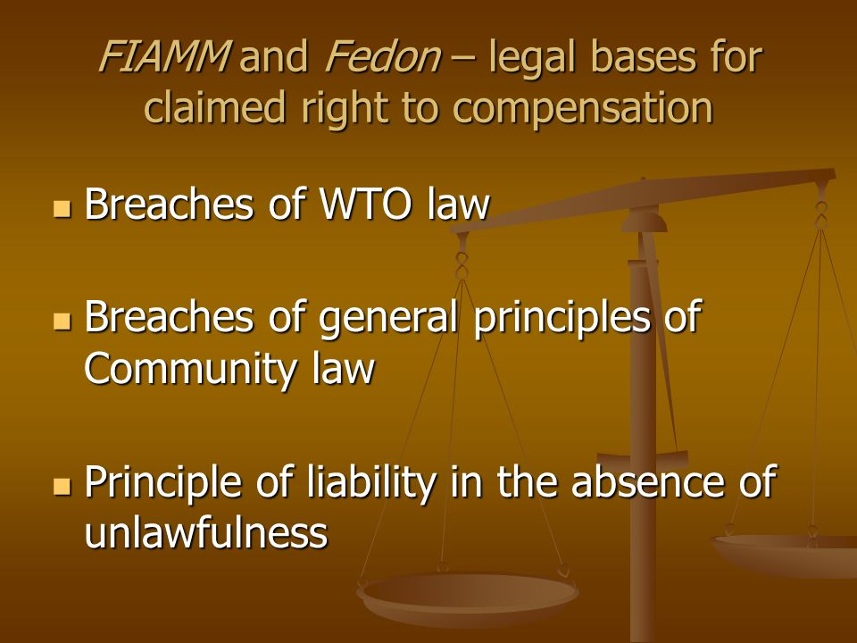 FIAMM and Fedon – legal bases for claimed right to compensation Breaches of WTO law Breaches of WTO law Breaches of general principles of Community law Breaches of general principles of Community law Principle of liability in the absence of unlawfulness Principle of liability in the absence of unlawfulness