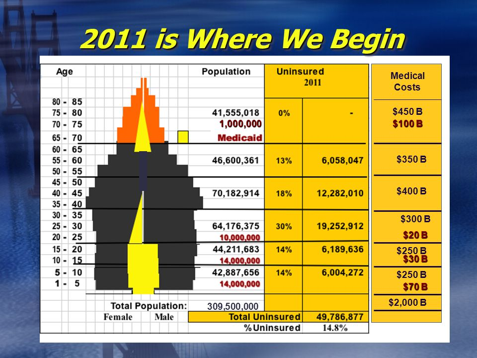 2011 is Where We Begin $450 B Medical Costs $100 B $350 B $400 B $300 B $20 B 1,000,000 $30 B $70 B $250 B 309,500,000 $2,000 B
