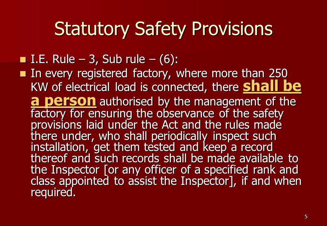 5 Statutory Safety Provisions I.E. Rule – 3, Sub rule – (6): I.E.