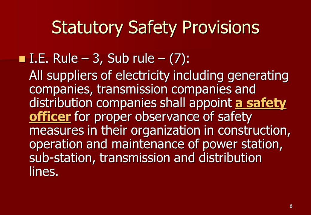 6 Statutory Safety Provisions I.E. Rule – 3, Sub rule – (7): I.E.