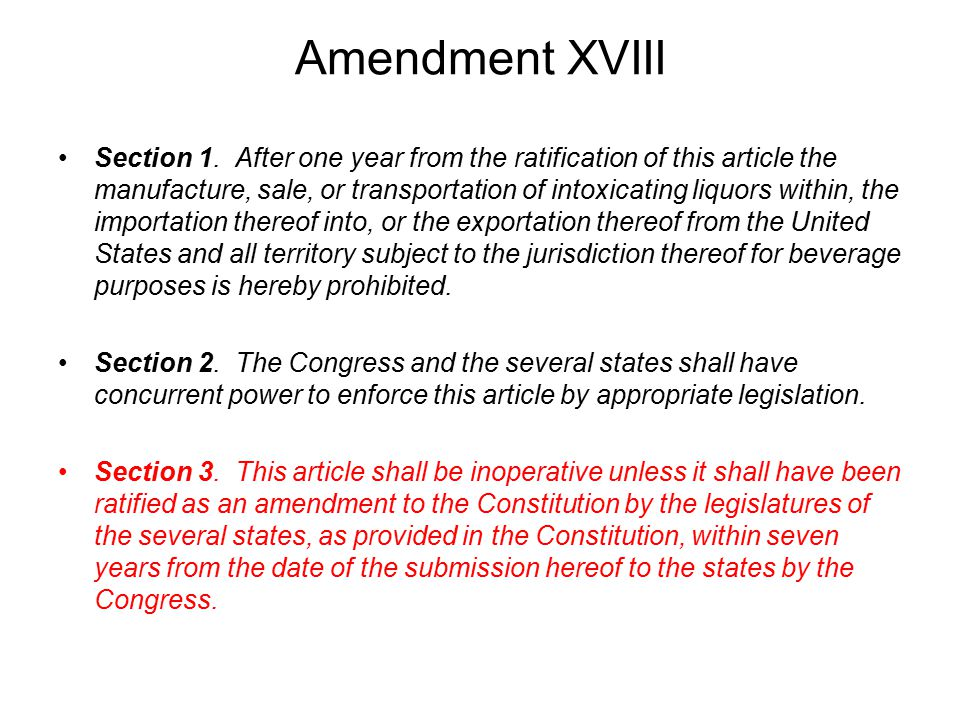 Amendment XVIII Section 1.