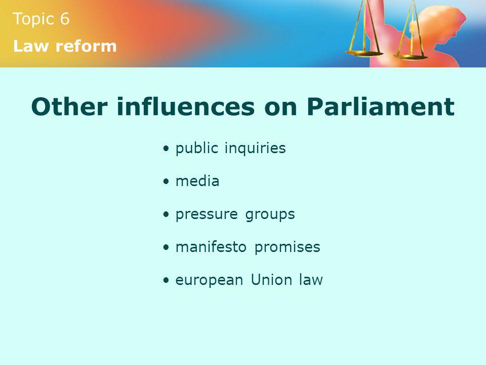 Topic 6 Law reform Other influences on Parliament public inquiries media pressure groups manifesto promises european Union law