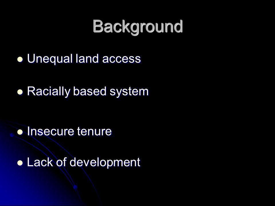 Background Unequal land access Unequal land access Racially based system Racially based system Insecure tenure Insecure tenure Lack of development Lack of development