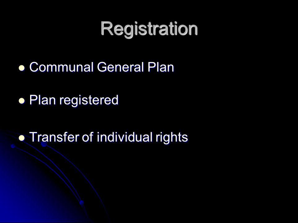 Registration Communal General Plan Communal General Plan Plan registered Plan registered Transfer of individual rights Transfer of individual rights