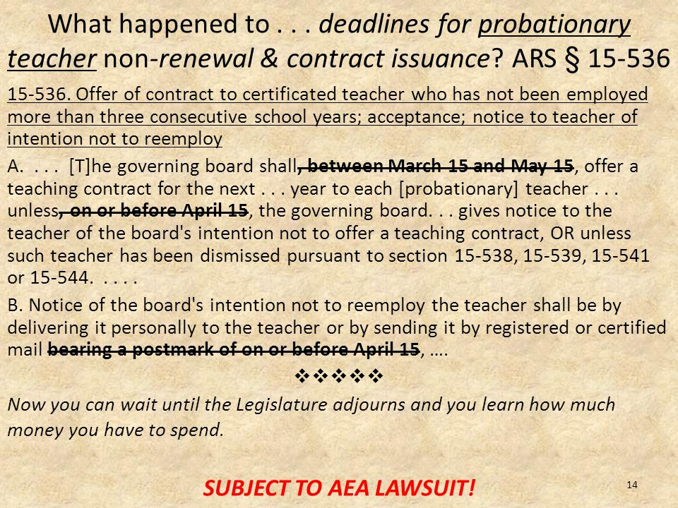 What happened to... deadlines for probationary teacher non-renewal & contract issuance.