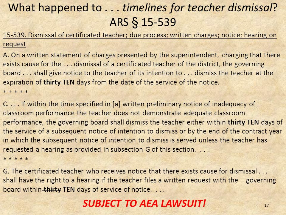 What happened to... timelines for teacher dismissal.