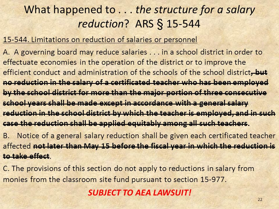 What happened to... the structure for a salary reduction.