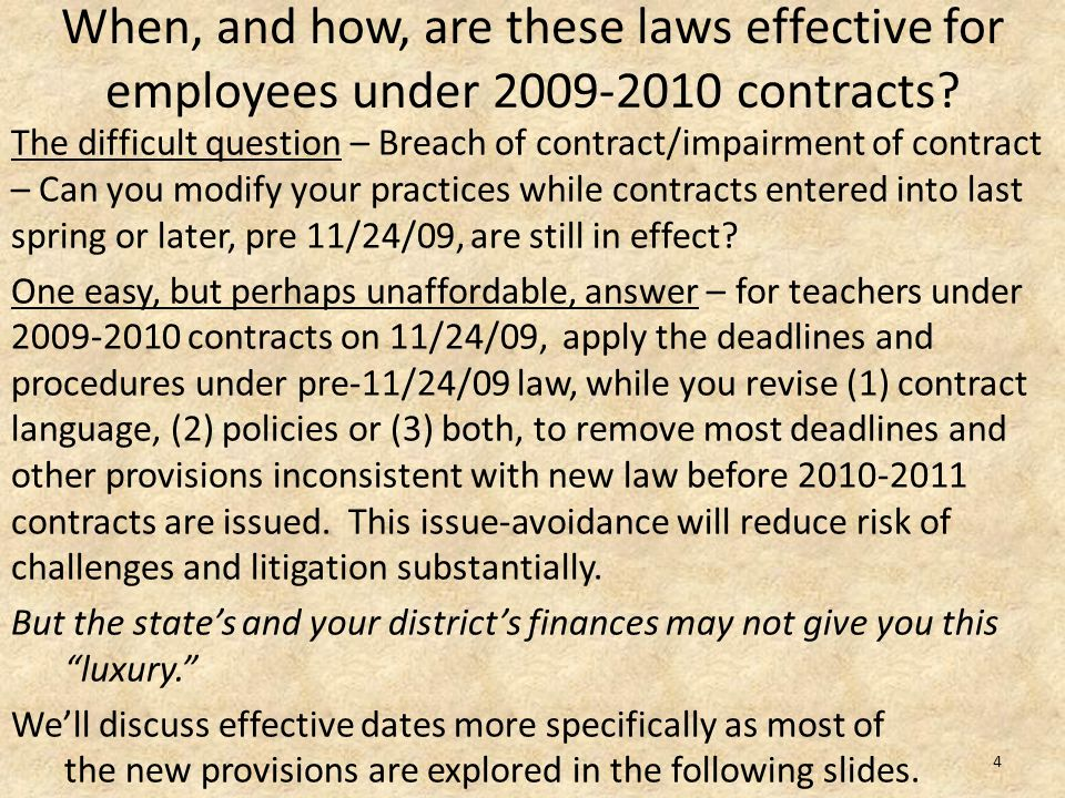When, and how, are these laws effective for employees under 2009-2010 contracts.