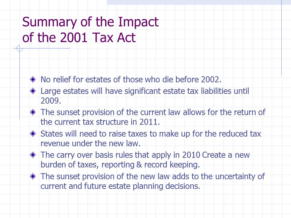 Summary of the Impact of the 2001 Tax Act No relief for estates of those who die before 2002.