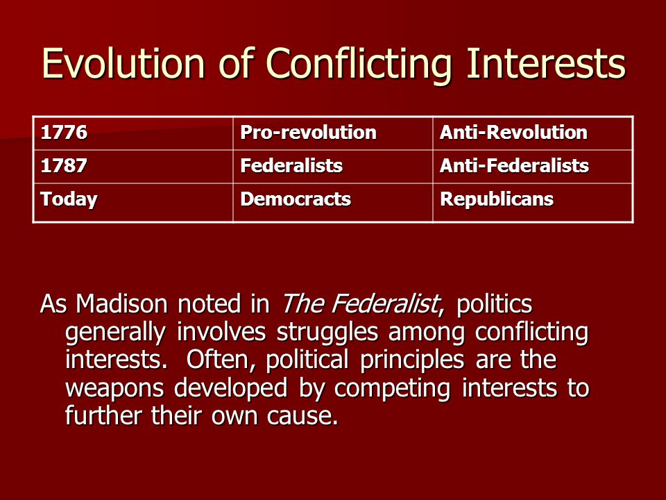 Evolution of Conflicting Interests As Madison noted in The Federalist, politics generally involves struggles among conflicting interests.