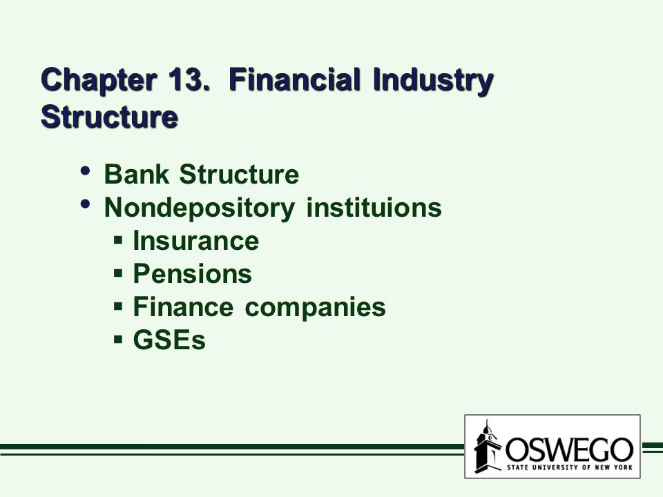 Chapter 13. Financial Industry Structure Bank Structure Nondepository instituions  Insurance  Pensions  Finance companies  GSEs Bank Structure Non