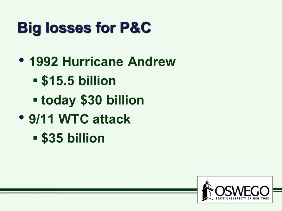 Big losses for P&C 1992 Hurricane Andrew  $15.5 billion  today $30 billion 9/11 WTC attack  $35 billion 1992 Hurricane Andrew  $15.5 billion  today $30 billion 9/11 WTC attack  $35 billion