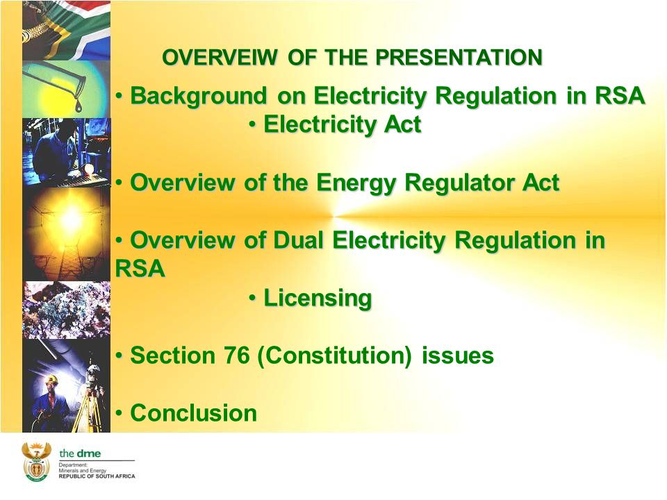 Overview of the Electricity Regulation Act Functions of the Regulator Chapter 2 The regulator is empowered to: issue licences for transmission, generation, distribution, import and export of electricity and trading in electricity; impose penalties for non-compliance; act as a mediator in settlement of disputes; and register unlicensed generators in the ESI.