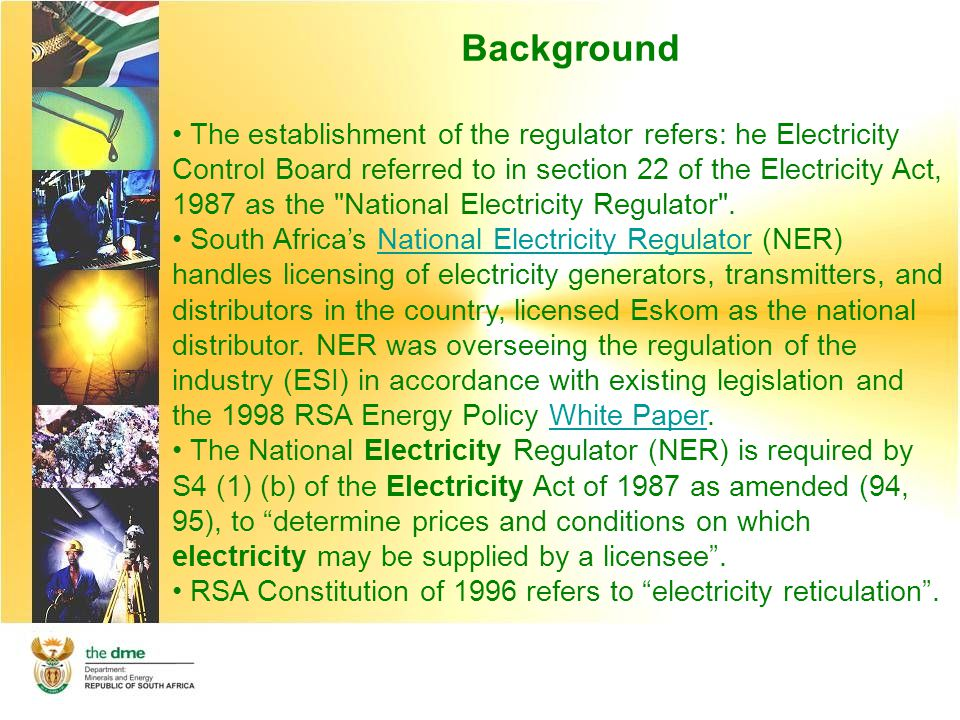 Background The establishment of the regulator refers: he Electricity Control Board referred to in section 22 of the Electricity Act, 1987 as the National Electricity Regulator .