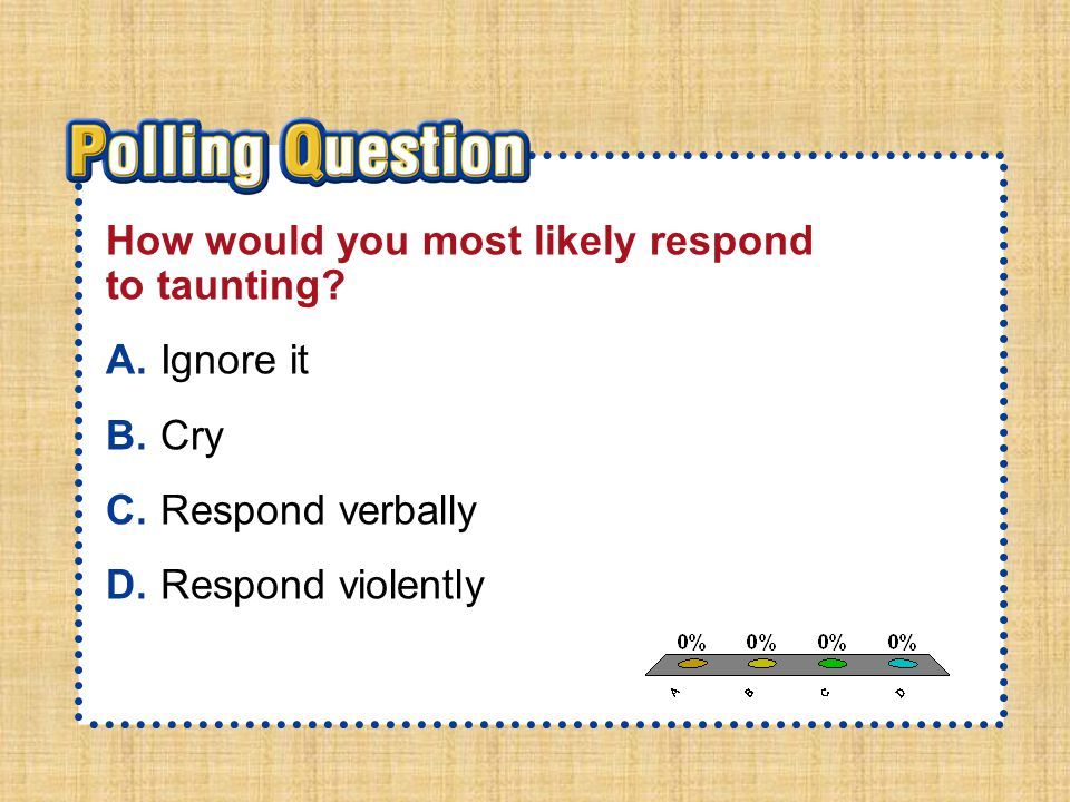 A.A B.B C.C D.D Section 2-Polling QuestionSection 2-Polling Question How would you most likely respond to taunting? A.Ignore it B.Cry C.Respond verbal