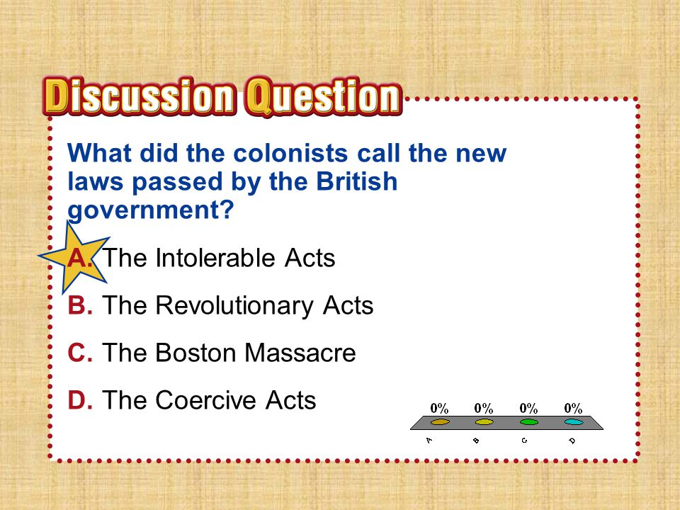 A.A B.B C.C D.D S e ct io n 2 What did the colonists call the new laws passed by the British government? A.The Intolerable Acts B.The Revolutionary Ac