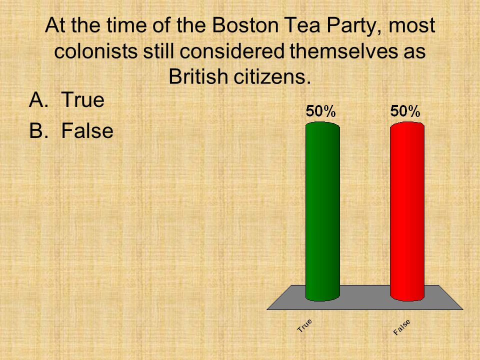 At the time of the Boston Tea Party, most colonists still considered themselves as British citizens. A.True B.False