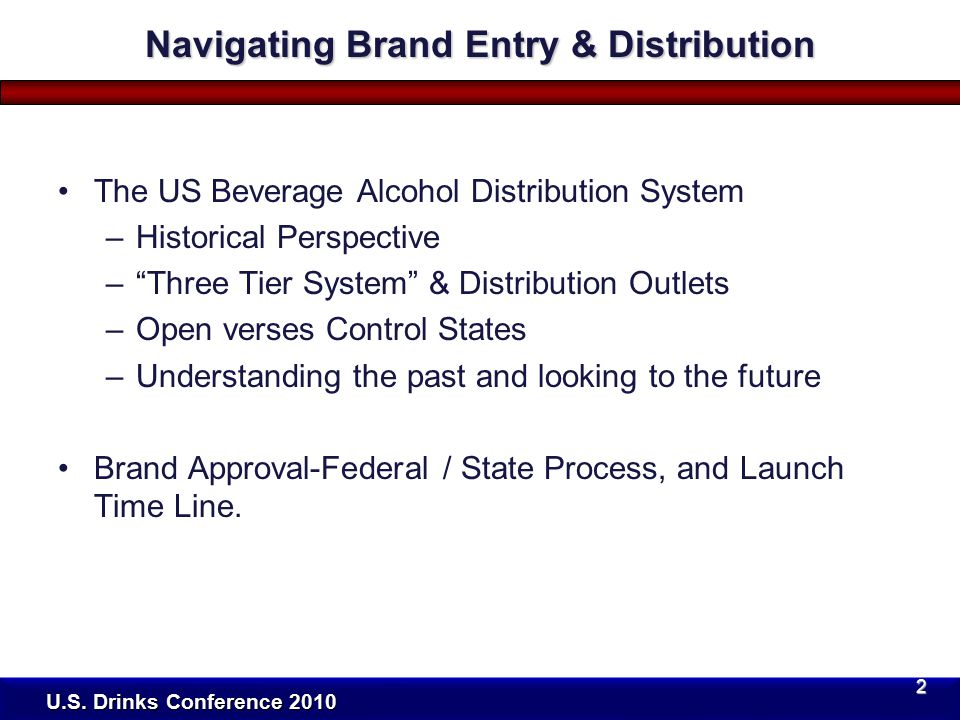 Price Structures For Wine, Spirits, and Beer New Brand Introduction Trends Brand / Industry Valuation Discussion Distribution Options / Partners / Approaches To Market Entry Summary U.S.