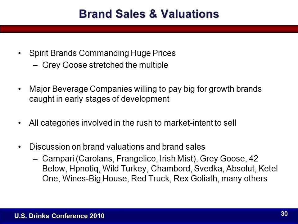 Spirit Brands Commanding Huge Prices –Grey Goose stretched the multiple Major Beverage Companies willing to pay big for growth brands caught in early stages of development All categories involved in the rush to market-intent to sell Discussion on brand valuations and brand sales –Campari (Carolans, Frangelico, Irish Mist), Grey Goose, 42 Below, Hpnotiq, Wild Turkey, Chambord, Svedka, Absolut, Ketel One, Wines-Big House, Red Truck, Rex Goliath, many others U.S.