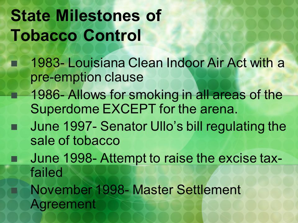 1983- Louisiana Clean Indoor Air Act with a pre-emption clause 1986- Allows for smoking in all areas of the Superdome EXCEPT for the arena.