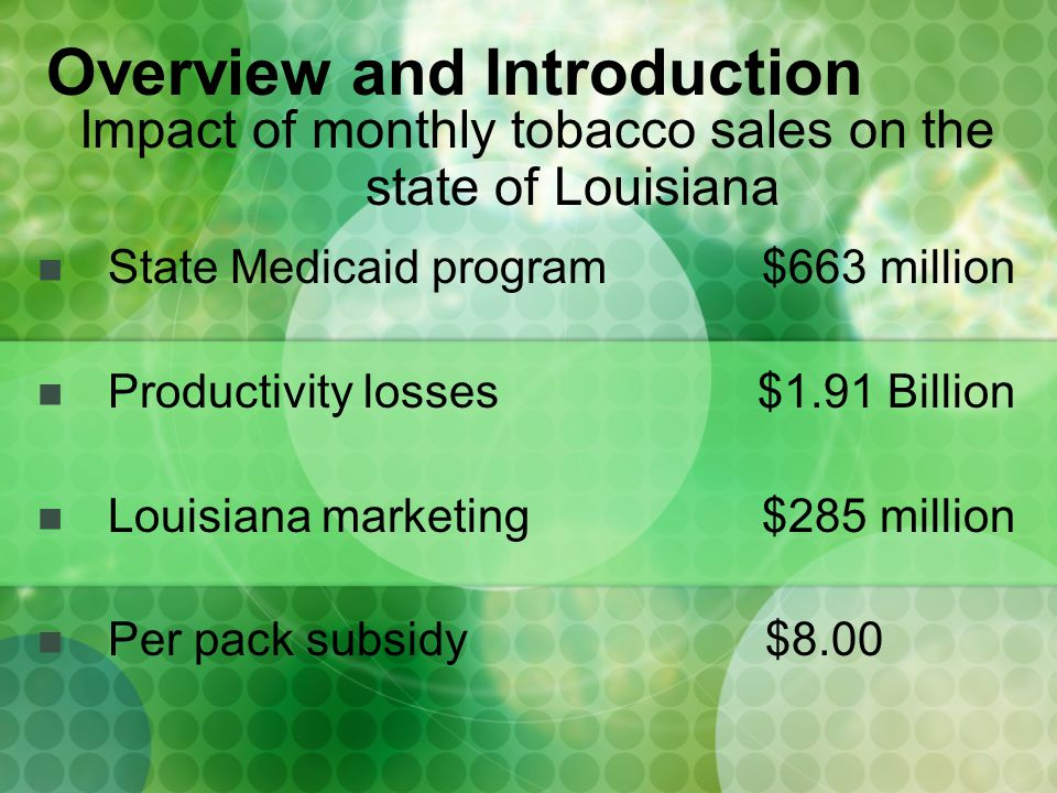 State Medicaid program $663 million Productivity losses $1.91 Billion Louisiana marketing $285 million Per pack subsidy $8.00 Overview and Introduction Impact of monthly tobacco sales on the state of Louisiana
