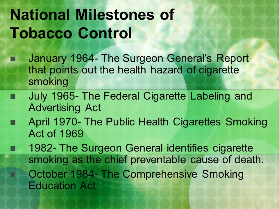 October 1987- The CDC estimates 315,120 deaths per year result from cigarette smoking.