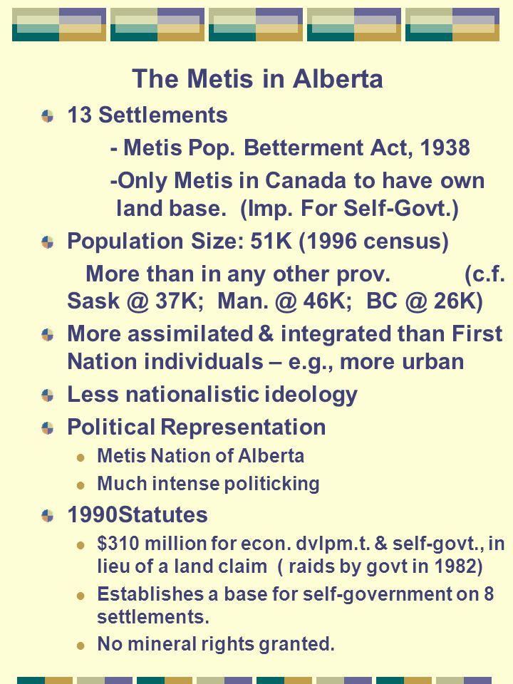 The Metis in Alberta 13 Settlements - Metis Pop.