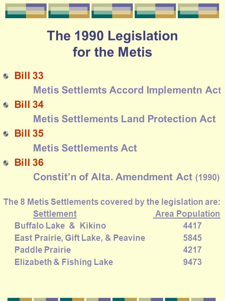 The 1990 Legislation for the Metis Bill 33 Metis Settlemts Accord Implementn Ac t Bill 34 Metis Settlements Land Protection Act Bill 35 Metis Settlements Act Bill 36 Constit'n of Alta.