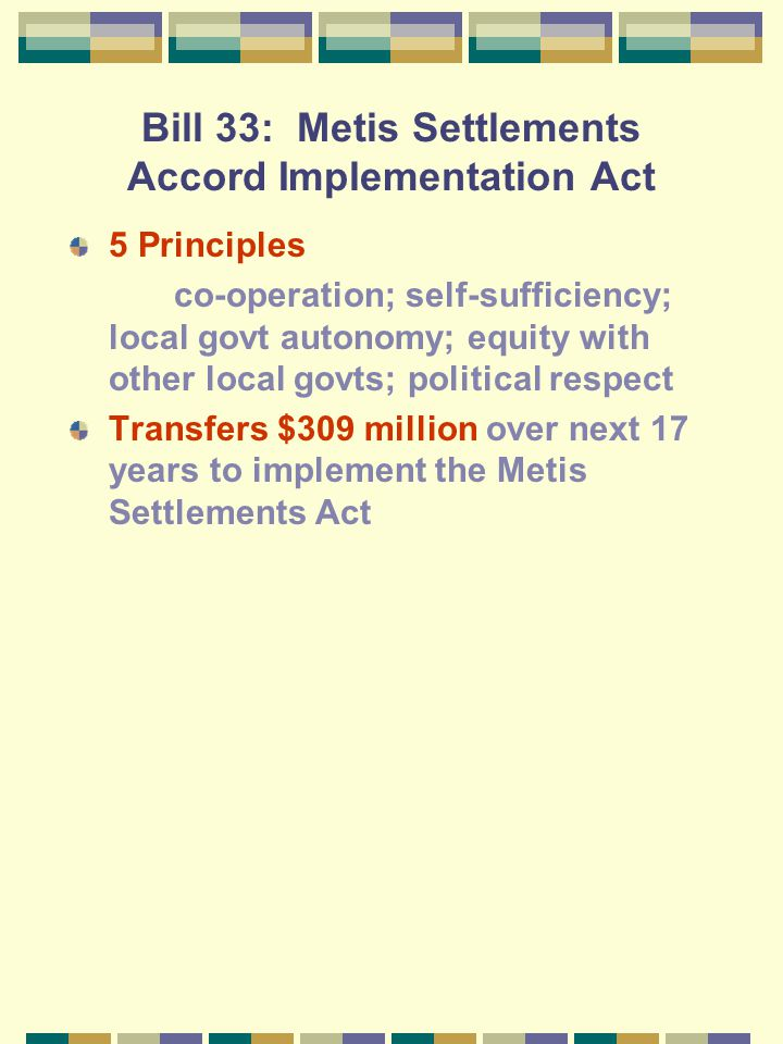 The 1990 Legislation for the Metis Bill 33 Metis Settlemts Accord Implementn Ac t Bill 34 Metis Settlements Land Protection Act Bill 35 Metis Settleme