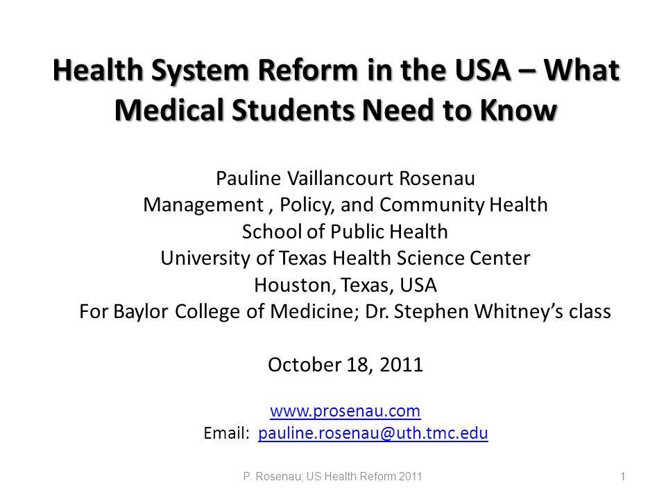 P. Rosenau; US Health Reform 201122
