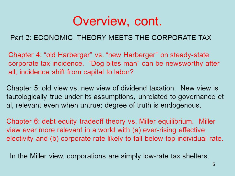"5 Overview, cont. Part 2: ECONOMIC THEORY MEETS THE CORPORATE TAX Chapter 4: ""old Harberger"" vs. ""new Harberger"" on steady-state corporate tax inciden"