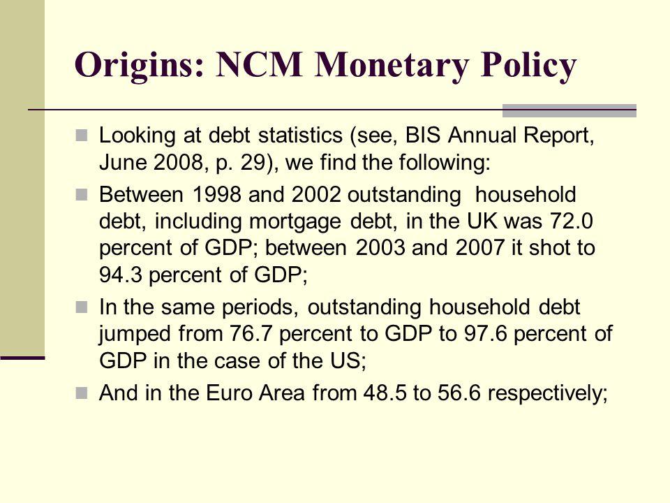 Origins: NCM Monetary Policy Looking at debt statistics (see, BIS Annual Report, June 2008, p.