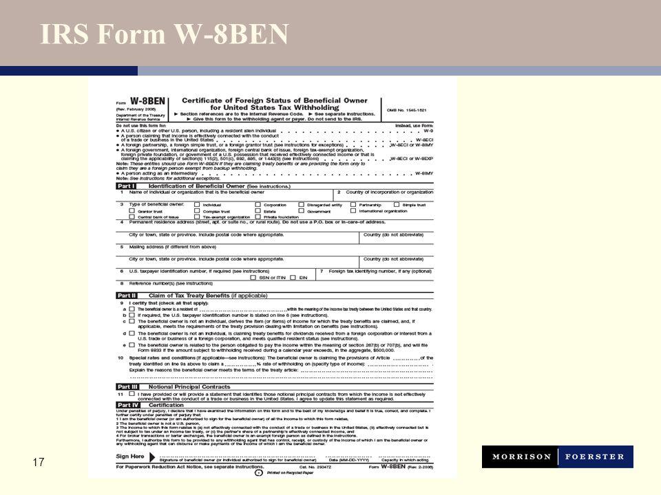 17 IRS Form W-8BEN