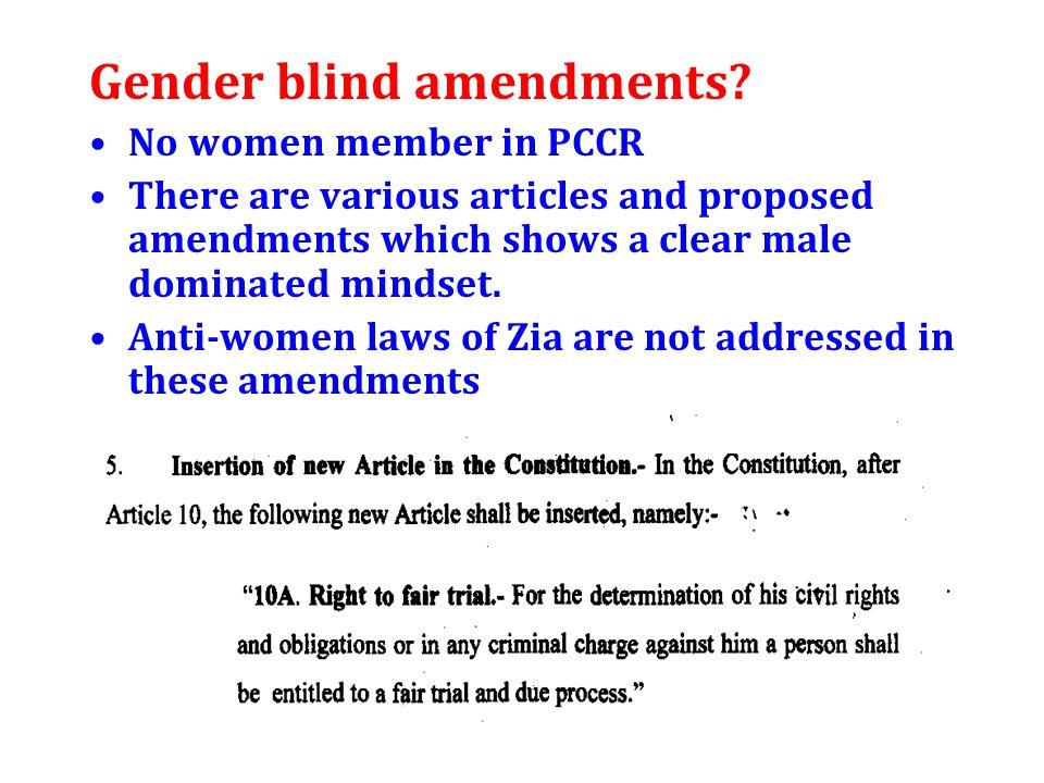 Gender blind amendments.