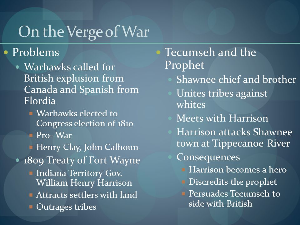On the Verge of War Problems Warhawks called for British explusion from Canada and Spanish from Flordia  Warhawks elected to Congress election of 181