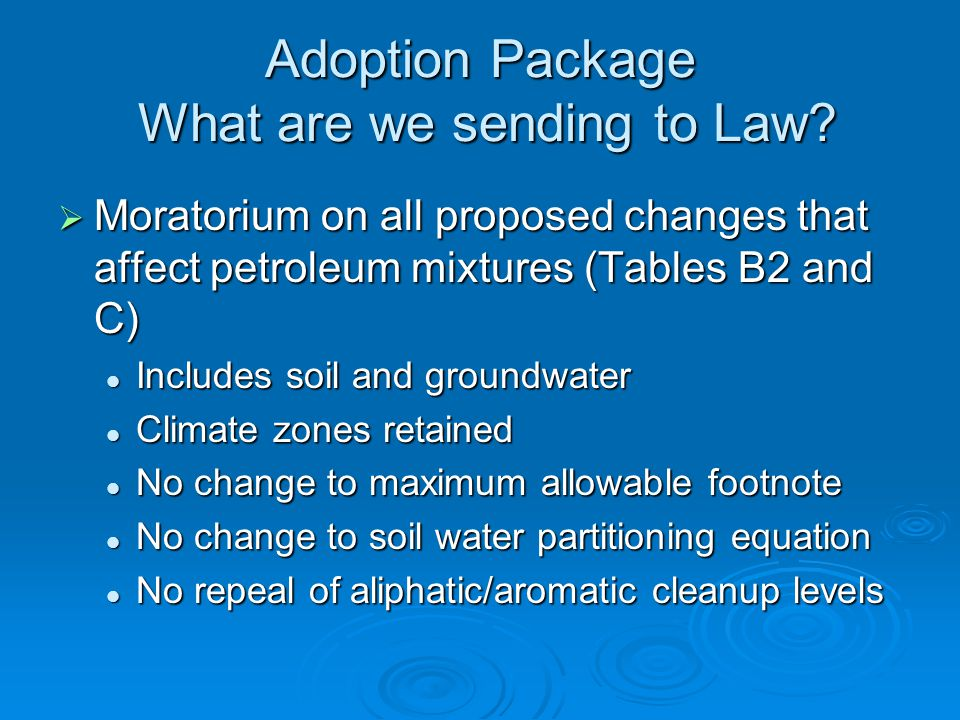 Adoption Package What are we sending to Law.